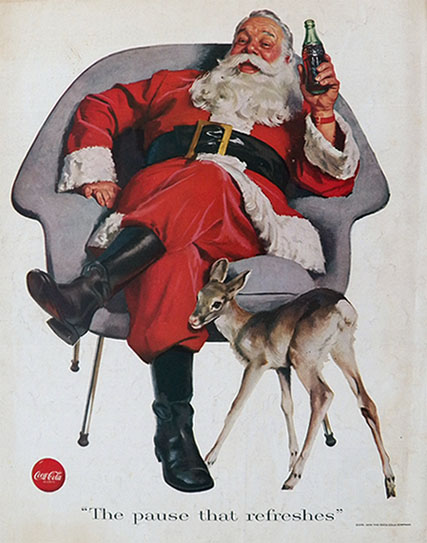 1956 Coca Cola Coke Ad ~ Santa with Baby Deer