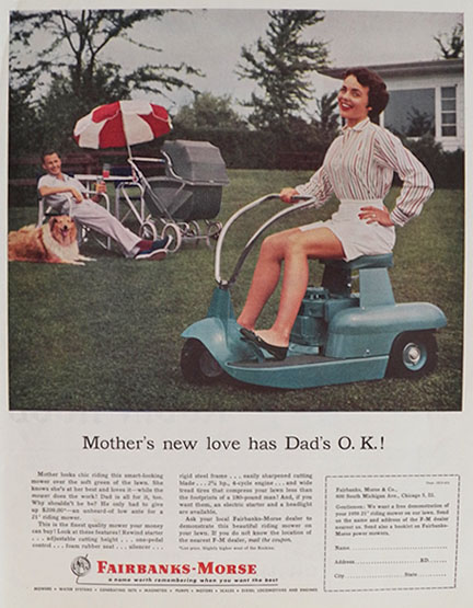 1956 Fairbanks Morse Lawnmower Ad Dad Watches Mom Mow