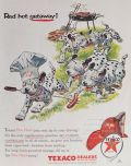 1956 Texaco Gas Ad ~ Dalmatians with Hot Dogs
