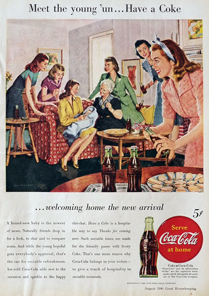 1946 Coca Cola Coke Ad ~ Meet the New Baby