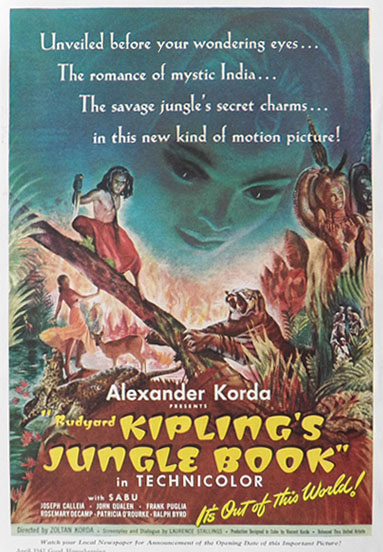 Rudyard Kipling's Jungle Book 1942 Vintage Movie Ad