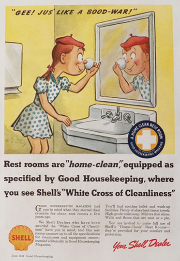 1941 Shell Gasoline Clean Rest Room Ad ~ WIlliam Steig Art