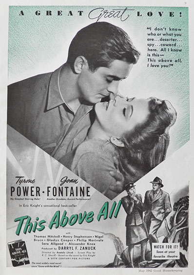 1942 Vintage Movie Ad ~ This Above All ~ Tyrone Power