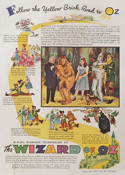 1939 Vintage Wizard of Oz MGM Movie Ad