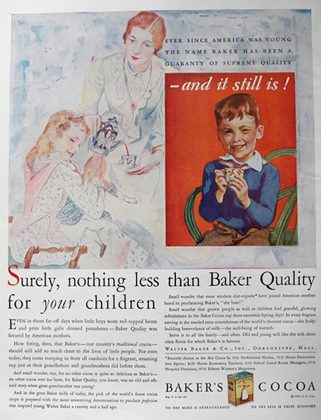 1930 Baker's Cocoa Ad ~ For Your Children