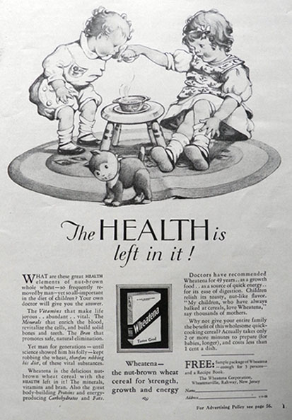 1928 Wheatena Cereal Ad ~ The Health Is Left In It!