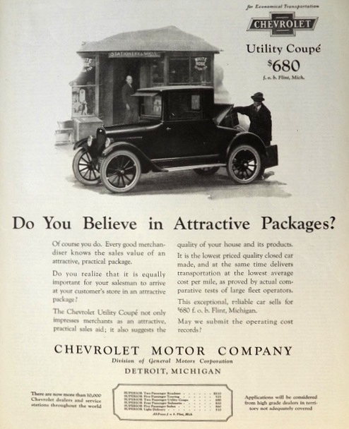 1923 Chevy Utility Coupe Ad ~ Attractive Package
