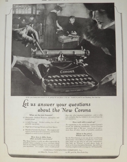 1923 Corona Typewriter Ad ~ 42nd & Broadway Store