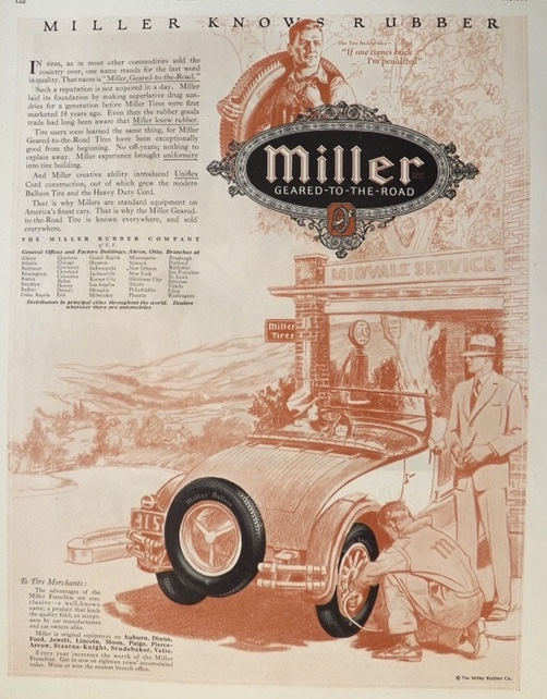 1926 Miller Tires Ad ~ Miller Knows Rubber