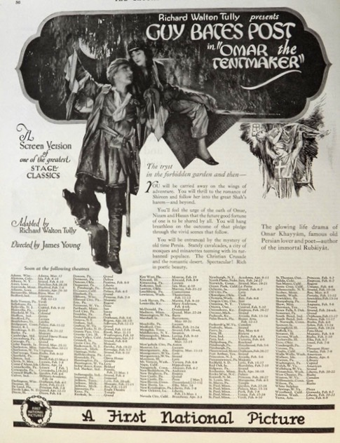 1923 Movie Ad ~ Omar the Tentmaker ~ Guy Bates Post