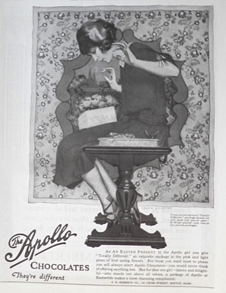 "1923 Apollo Chocolates Ad ~ ""Totally Different"""