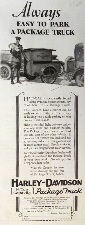 1929 Harley Davidson Package Truck Ad ~ Easy to Park