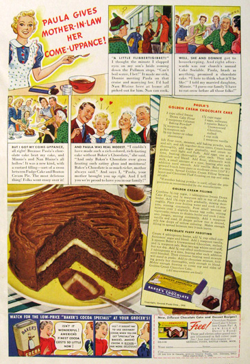 1938 Baker's Chocolate Ad ~ Golden Cream Chocolate Cake Recipe