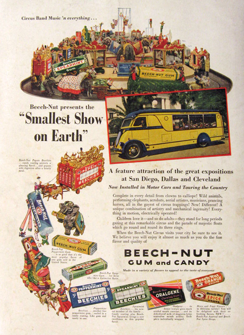 1936 Beechnut Gum & Candy Ad ~ Smallest Show on Earth