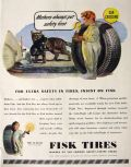 1945 Fisk Tires Ad ~ Mother Cat with Kitten