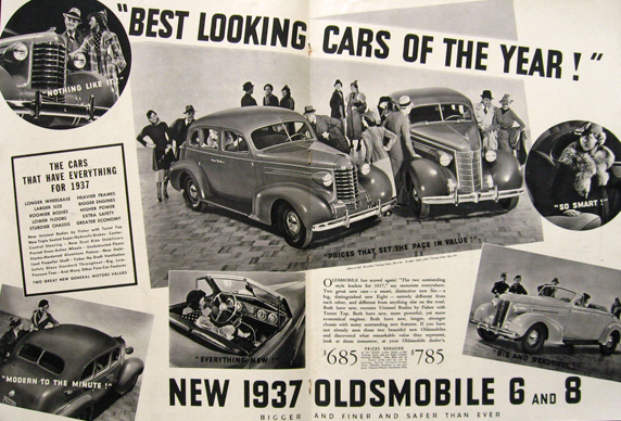 1937 Oldsmobile 6 & 8 Photo Ad ~ Best Looking Cars of the Year