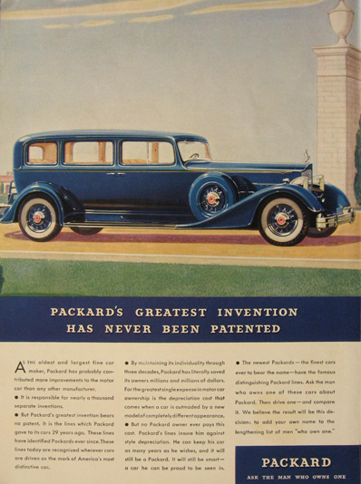 1934 Packard Car Ad ~ Never Patented