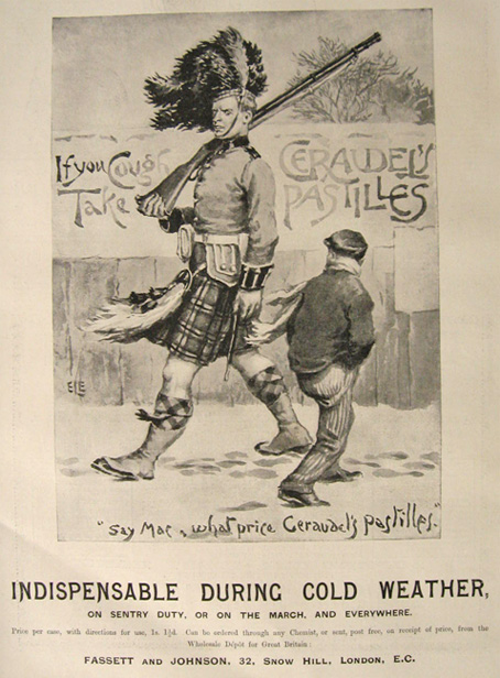 1894 Geraudel's Pastilles Cold Remedy Ad ~ Sentry Duty