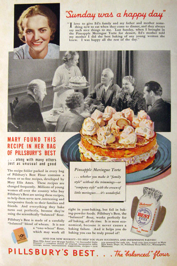 1936 Pillsbury's Best Flour Ad ~ Sunday Was a Happy Day
