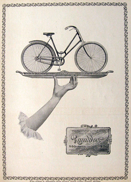 1897 Antique Rambler Bicycle Ad ~ Bike on a Platter