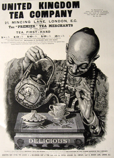 1894 United Kingdom Tea Company Ad ~ Asian Man Pours Tea