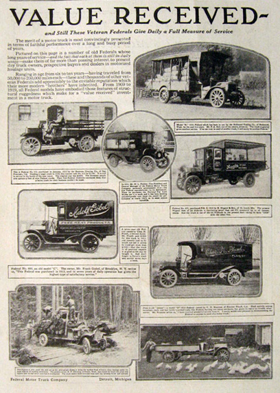 1919 Federal Motor Truck Ad ~ Antique Truck Photos