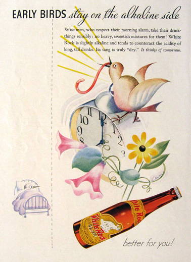 1934 White Rock Water Ad ~ Early Birds
