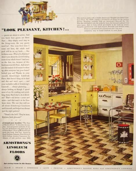 1936 armstrong linoleum floors ad retro formica kitchen vintage household ads - Retro flooring kitchen ...