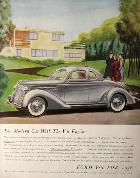 1936 Ford Ad ~ The Modern Car with the V8 Engine