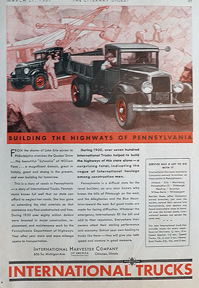 1931 International Trucks Ad ~ Pennsylvania Highways