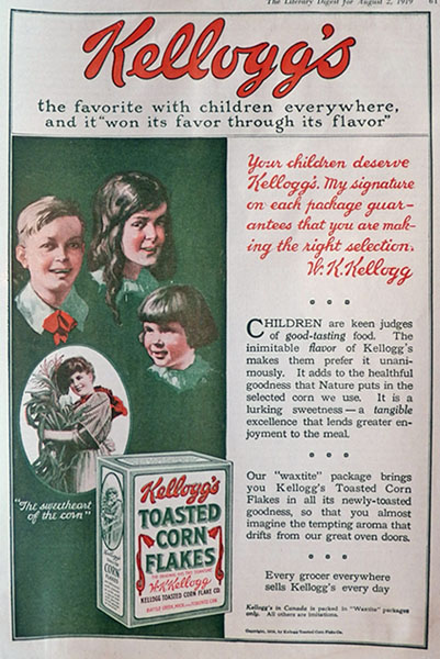1919 Kellogg's Corn Flakes Ad ~ Favorite With Children Everywhere
