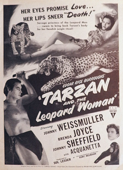 1946 Movie Ad ~ Tarzan & The Leopard Woman ~ Weissmuller