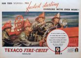 1934 Texaco Fire Chief Gas Ad ~ Firemen On Truck
