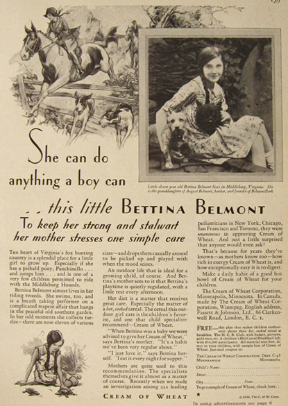 1930 Cream of Wheat Ad ~ Bettina Belmont, Middleburg, VA