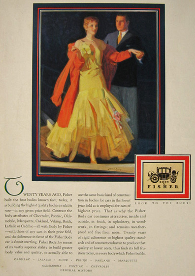 1929 Body by Fisher Ad ~ McClelland Barclay ~ Well Dressed Couple