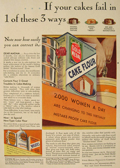 1930 Gold Medal Cake Flour Ad ~ Common Ways for Cake to Fail