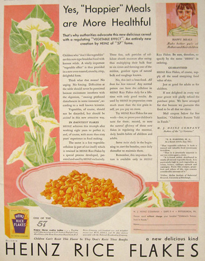 1930 Heinz Rice Flakes Cereal Ad ~ Happier Meals