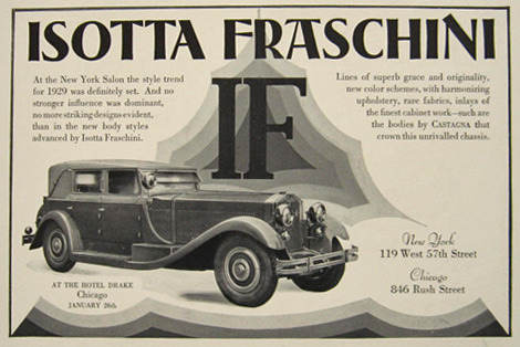 1929 Isotta Fraschini Car Ad ~ Castagna Body