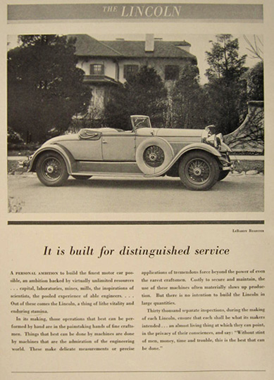 1930 Lincoln LeBaron Convertible Roadster Photo Ad