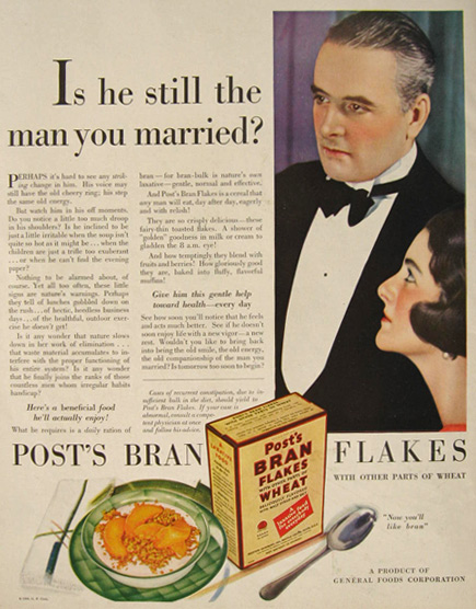 1930 Post Bran Flakes Ad ~ Still the Man You Married
