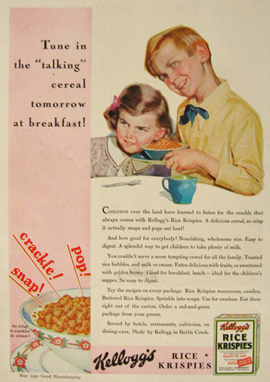 "1930 Kellogg's Rice krispies Cereal Ad ~ The ""Talking"" Cereal"