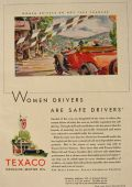 1930 Texaco Gas & Oil Ad ~ Women Drivers Are Safe Drivers