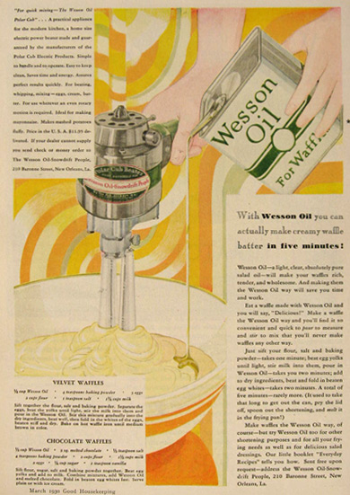 1930 Wesson Oil Ad ~ Polar Cub Beater, Waffle Recipes