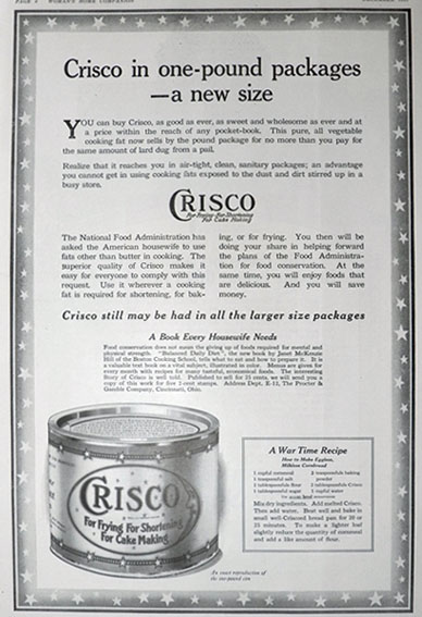 1917 Crisco Shortening Ad ~ War Time Cornbread Recipe