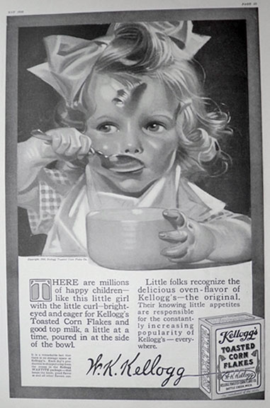 1916 Kellogg's Corn Flakes Ad ~ J.C. Leyendecker ~ Girl with Curl