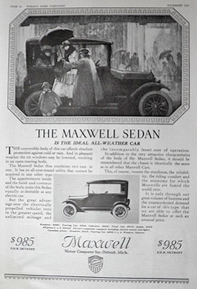 1916 Maxwell Sedan Car Ad ~ Ideal All-Weather Car