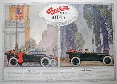 1916 Willys Overland Six Ad ~ Franklin Booth Color Art