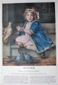 1916 Louise Cox Print ~ Beautiful Child with Pigeons