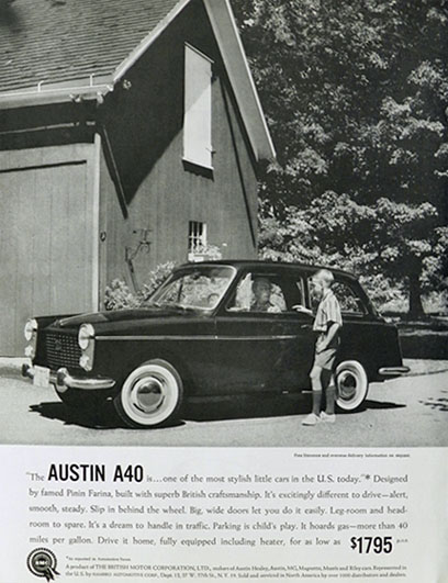 1959 Austin A40 Car Ad ~ Stylish