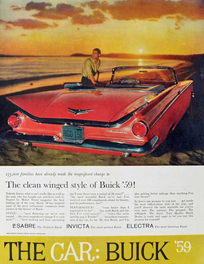 1959 Buick Convertible Ad ~ Clean Winged